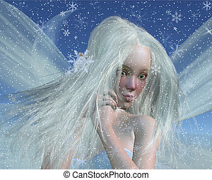 Close-up protrait of a cold winter fairy with a cute red nose on a snowy winter night, 3d digitally rendered illustration