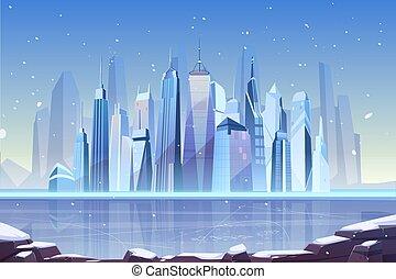 Cold winter in modern metropolis cartoon vector