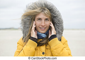 Cold woman outside
