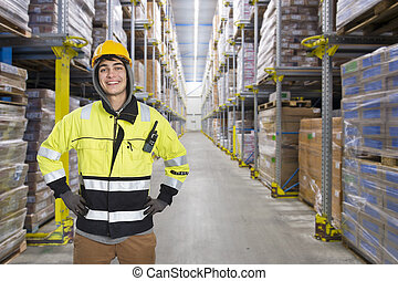 Coldstore worker - Smiling, hooded man, with a hard hat in a...