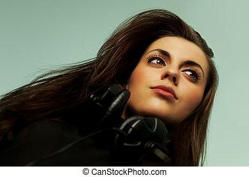coleção música, -, atraente, jovem, amante música