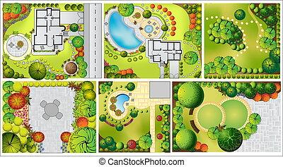 coleções, od, paisagem, plano, com, copa árvore, símbolos