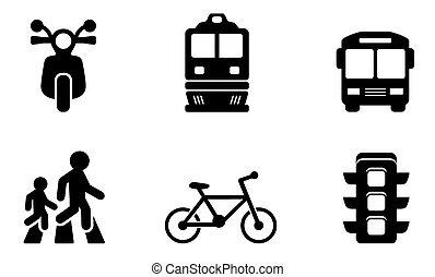 coleções, transporte, ícones