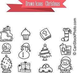 colección, acción, de, navidad, iconos, vector