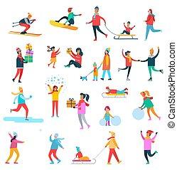 colección, actividades, vector, invierno, ilustración