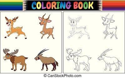 colección, animales, colorido, enastado, libro