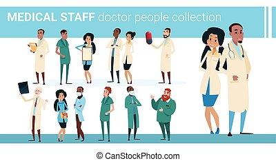 colección, bandera, doctors, medial, grupo, hospital, equipo, clínica