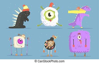 colección, caricatura, caracteres, conjunto, invierno, monstruos, ilustración, actividades, vector, divertido, al aire libre
