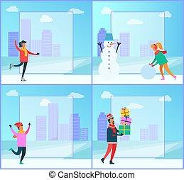 colección, carteles, vector, invierno, ilustración