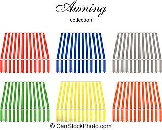 colección, color., toldo, rayado, 6