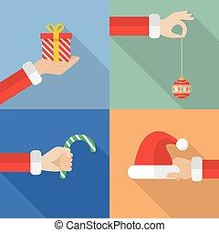 colección, conjunto, de, santa, tenencia de la mano, navidad, objetos