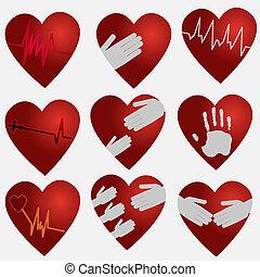 colección, corazones