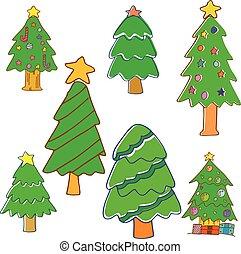 colección, de, árbol de navidad, vector
