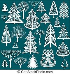 colección, de, árboles invierno