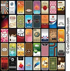 colección, de, 40, tarjetas comerciales