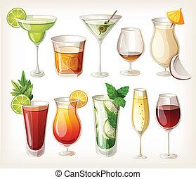 colección, de, alcohol, coctails