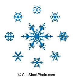 colección, de, azul, snowflakes.