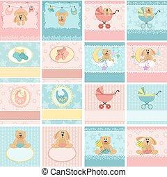 colección, de, bebé, postales
