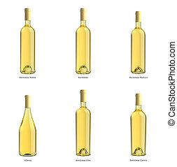 colección, de, botellas, de, vino blanco