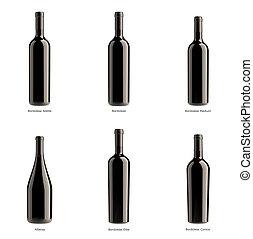colección, de, botellas, de, vino rojo