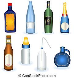 colección, de, botellas