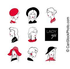 colección, de, cabezas, o, caras, de, elegante, dama, con, elegante, peinados, llevando, vario, sombreros, y, earrings., conjunto, de, estilizado, contorno, retratos, de, mujer joven, con, moderno, accessories., vector, illustration.