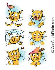 colección, de, caricatura, gatos