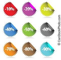 colección, de, coloreado, stickers.