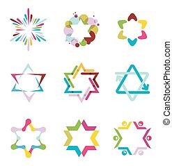 colección, de, colorido, resumen, estrella, iconos, símbolos, y, gráfico, elementos