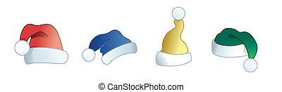 colección, de, colorido, santa, sombreros