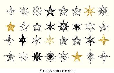 colección, de, copos de nieve, estrellas, decoraciones de navidad, mano, dibujado, ilustraciones