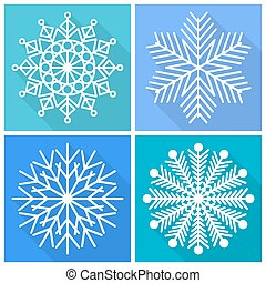 colección, de, copos de nieve, iconos