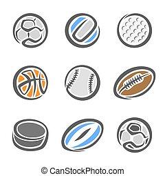 colección, de, deporte, pelotas
