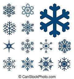 colección, de, diferente, azul, copos de nieve