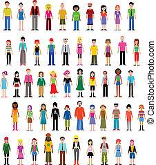 colección, de, diferente, vector, gente