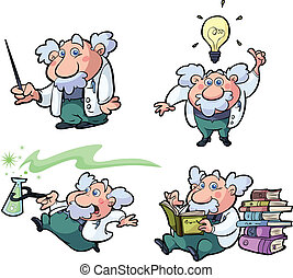 colección, de, diversión, ciencia, profesor