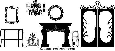 colección, de, editable, vector, muebles, y, decoración, siluetas