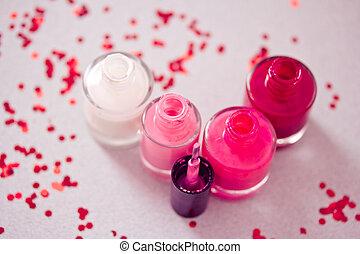 colección, de, esmalte uñas, botellas