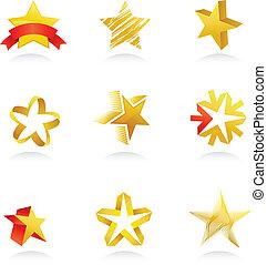 colección, de, estrella del oro, iconos, vector