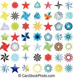 colección, de, estrellas, resumen, símbolo