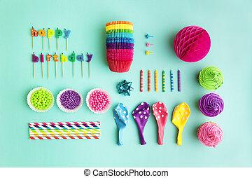 colección, de, fiesta de cumpleaños, objetos