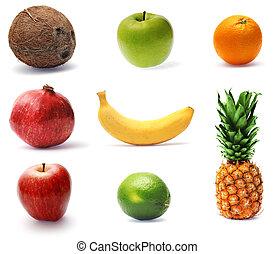 colección, de, fresco, maduro, fruta