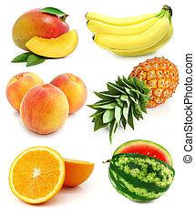 colección, de, fruta fresca, aislado