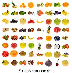 colección, de, fruta, y, nueces