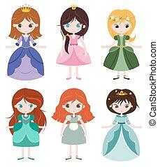 colección, de, hermoso, princesses.