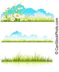 colección, de, hierba verde