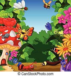 colección, de, insectos, en, el, flor