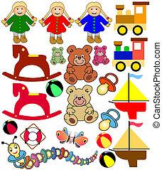 colección, de, juguetes