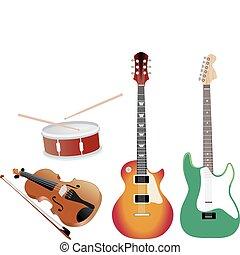 colección, de, música, objetos