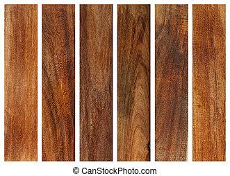 colección, de, madera, tablones, texturas